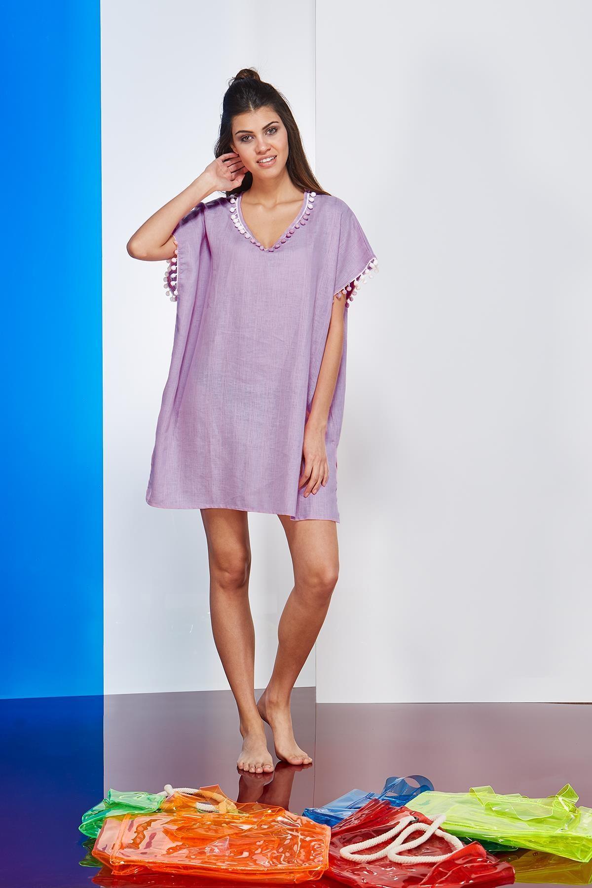 PJS Kadın Mor Plaj Elbise 20730