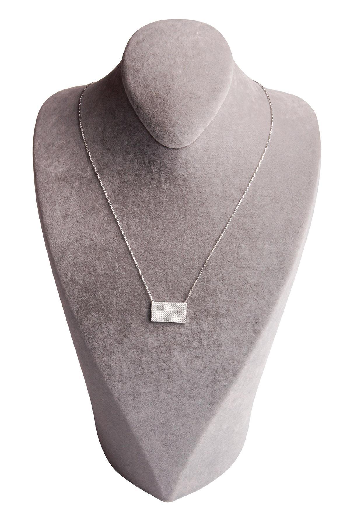 Sahra Zirkon Süslemeli Tasarım 925 Ayar Gümüş Kolye 2