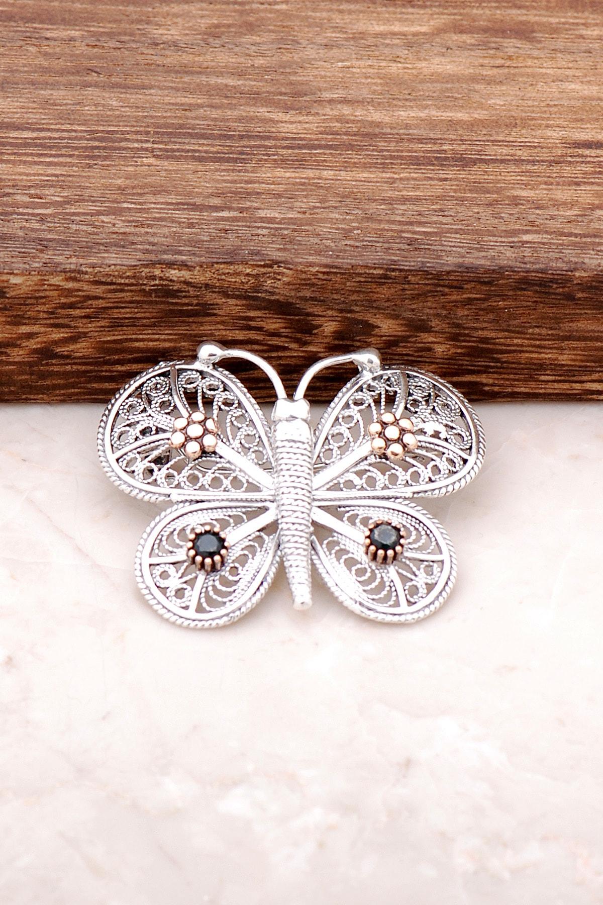 Sümer Telkari Kelebek Tasarımlı Elişi Gümüş Broş 279 1