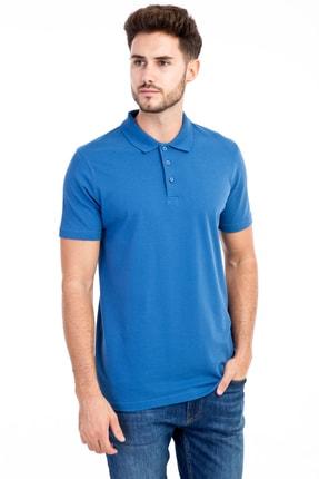 Kiğılı Erkek Mavi Polo Yaka Düz Slimfit T-Shirt - 9093
