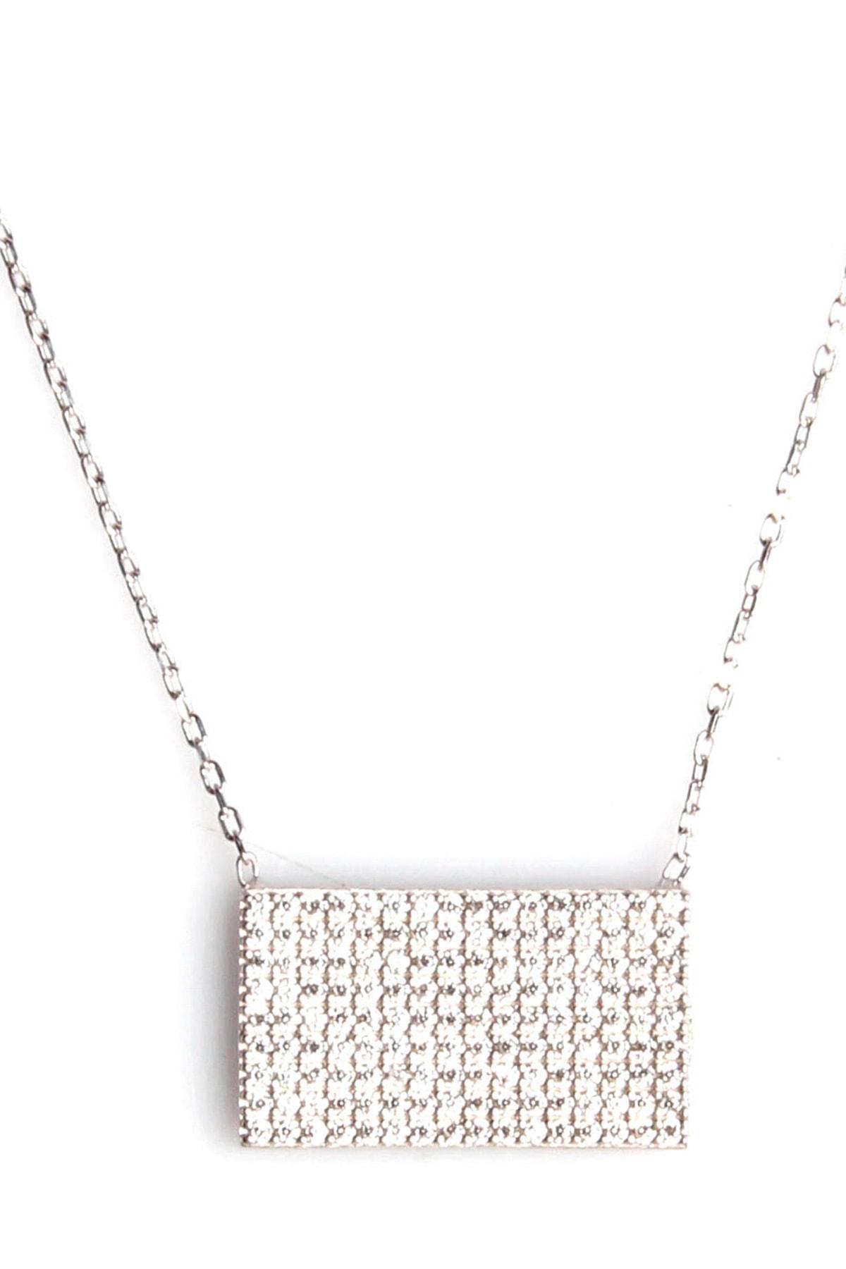 Sahra Zirkon Süslemeli Tasarım 925 Ayar Gümüş Kolye 1