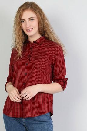 Colin's KADIN Regular Fit Shirt Neck Kadın Kırmızı Uzun Kol Gömlek CL1041198