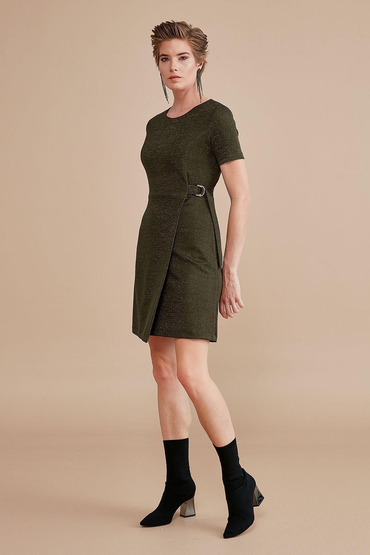 Journey Kadın Haki Sıfır Yaka Sol Dikişten D Toka Detaylı Kısa Kol Anvelop Elbise 19KELB139