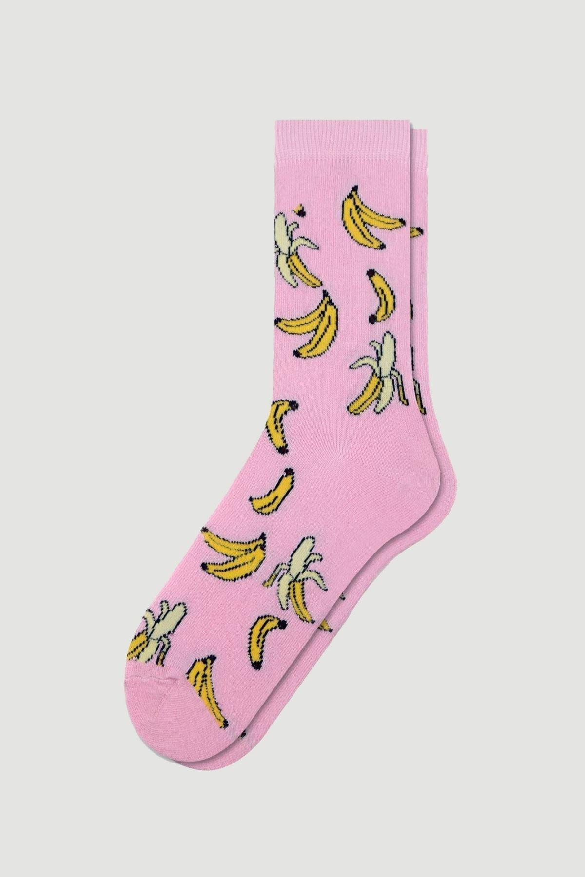 Bross Kadın Pembe Muz Desenli Çorabı