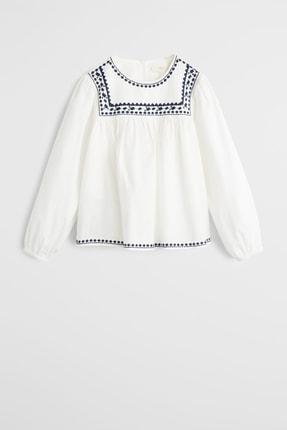 MANGO Kids Kırık Beyaz Kız Çocuk İşleme Detaylı Bluz 57006305