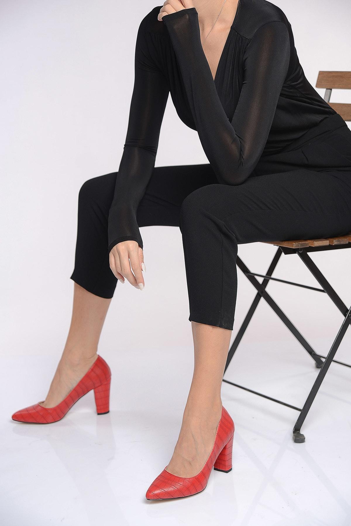 Shoes Time Kırmızı Kadın Topuklu Ayakkabı 19K 207 2
