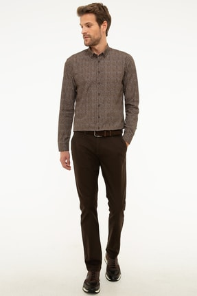 Pierre Cardin Erkek Kahverengi Slim Fit Chino Pantolon