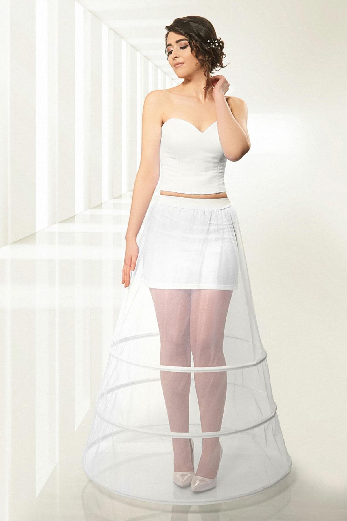 jupon Kadın Kırık Beyaz 3 Telli  Astarsız Tarlatan 1003-3
