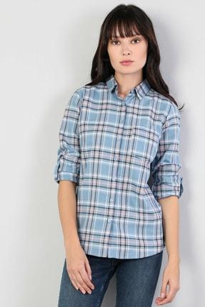 Colin's KADIN Super Slim Fit Shirt Neck Kadın Mavi Uzun Kol Gömlek CL1045463