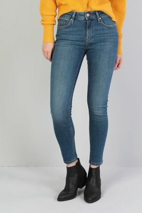Colin's KADIN 759 Lara Orta Bel Dar Paça Super Slim Fit Mavi Kadın Jean Pantolon CL1045983