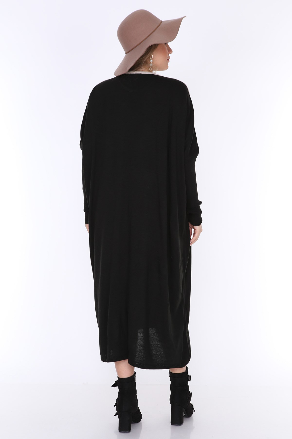 MJORA Kadın Siyah Önü V Triko Tunik ÇRG011 2