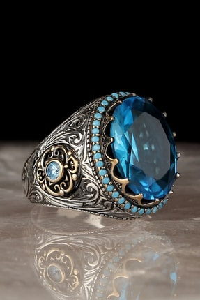 Tesbihevim Blue Topaz Taşlı 925 Ayar Gümüş Yüzük