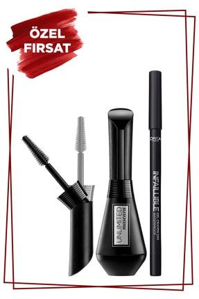L'Oreal Paris Unlimited Siyah Maskara + Infaillible Gel Crayon Göz Kalemi 01 Back to Black 36005233514971
