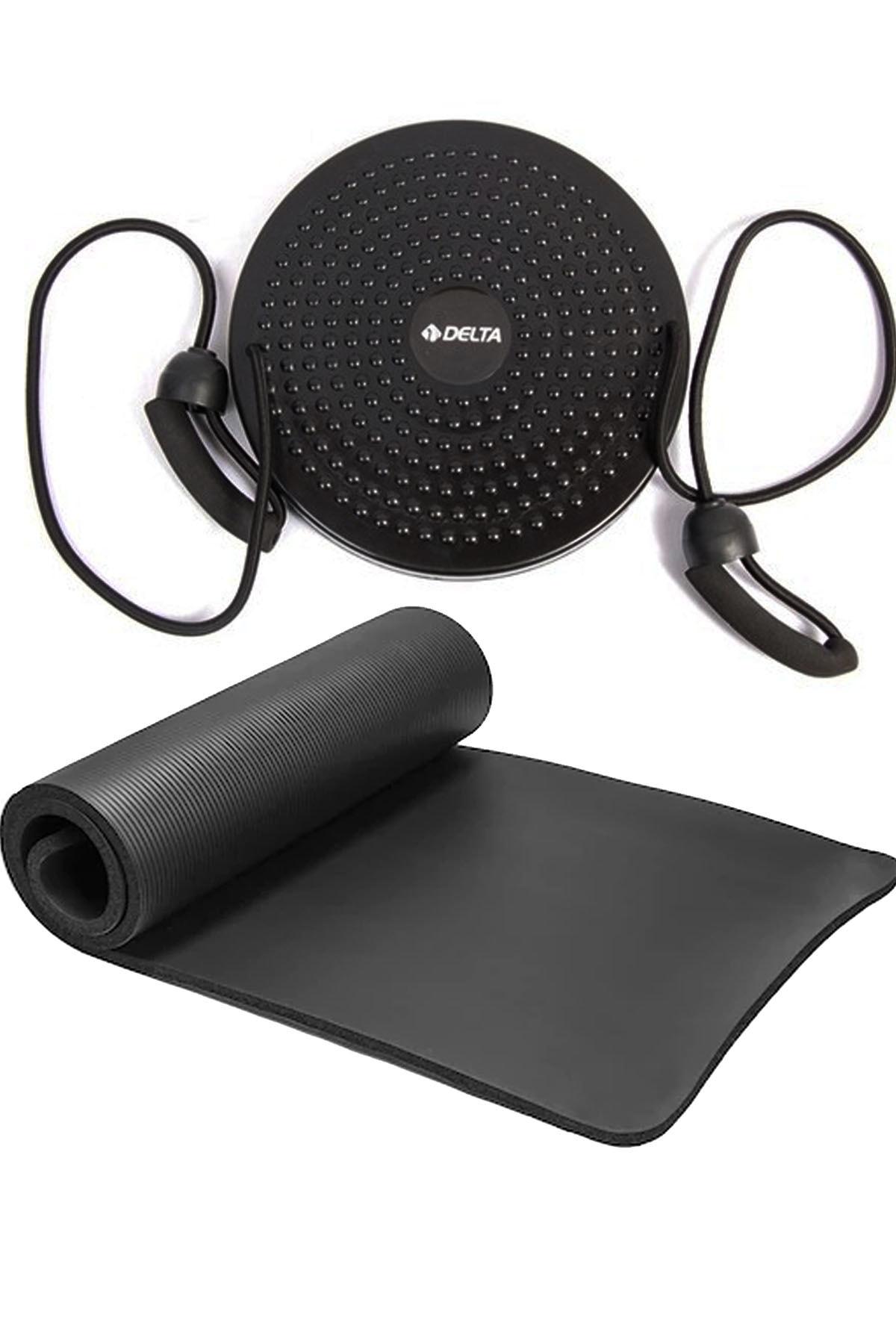 Delta 1 Cm Pilates Minderi, Çekme Direnç Lastikli Twister Disk Plates Yoga Matı Seti