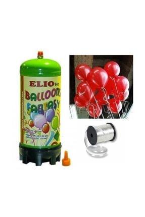 Parti dolabı Helyum Gazı Tüp + 20 Adet Kırmızı Balon Metalik Uçan Balon + İpi