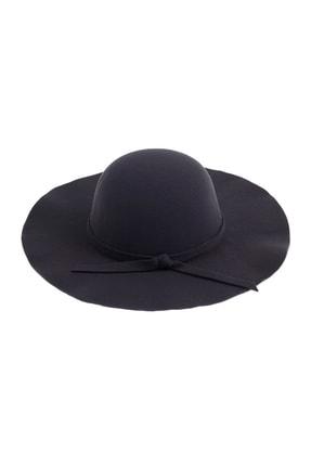 Bay Şapkacı Geniş Kenarlı Kaşe Siyah Fötr Şapka 7172