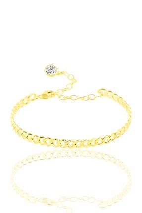 Söğütlü Silver Gümüş Zincir Modeli Altın Renkli Bilezik SGTL10026GOLD