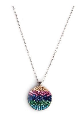 Sahra Renkli Zirkon Süslemeli Tasarım 925 Ayar Gümüş Kolye KLY-0066-24