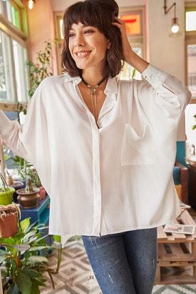 Olalook Kadın Beyaz Cepli Salaş Gömlek GML-19000420