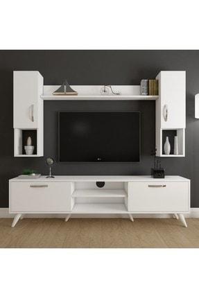 Rani Mobilya A9 Duvar Raflı Kitaplıklı Tv Ünitesi Duvara Monte Dolaplı Modern Ayaklı Tv Sehpası Beyaz M27
