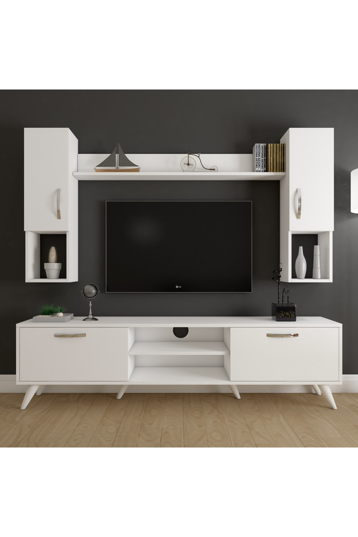 Rani Mobilya A9 Duvar Raflı Kitaplıklı Tv Ünitesi Duvara Monte Dolaplı Modern Ayaklı Tv Sehpası Beyaz M27 1