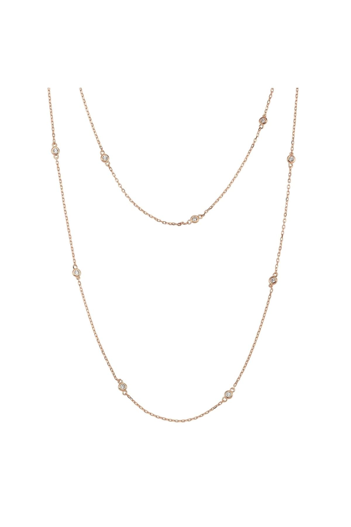 Altın Sepeti Rose Gümüş Dolamalı Zincir Uzun Kolye