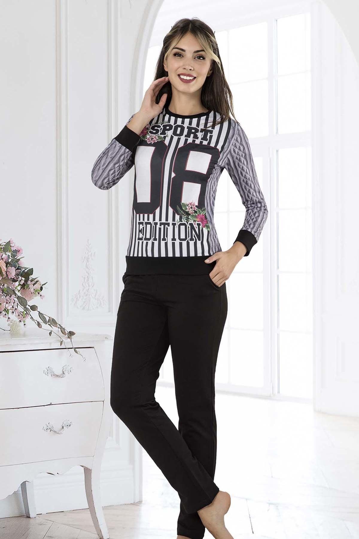 İPEKTENİM TEKSTİL Kadın Siyah Pijama Takım 1