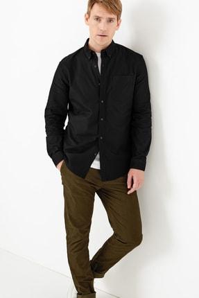 Marks & Spencer Erkek Siyah Saf Pamuklu Oxford Gömlek T25003200S