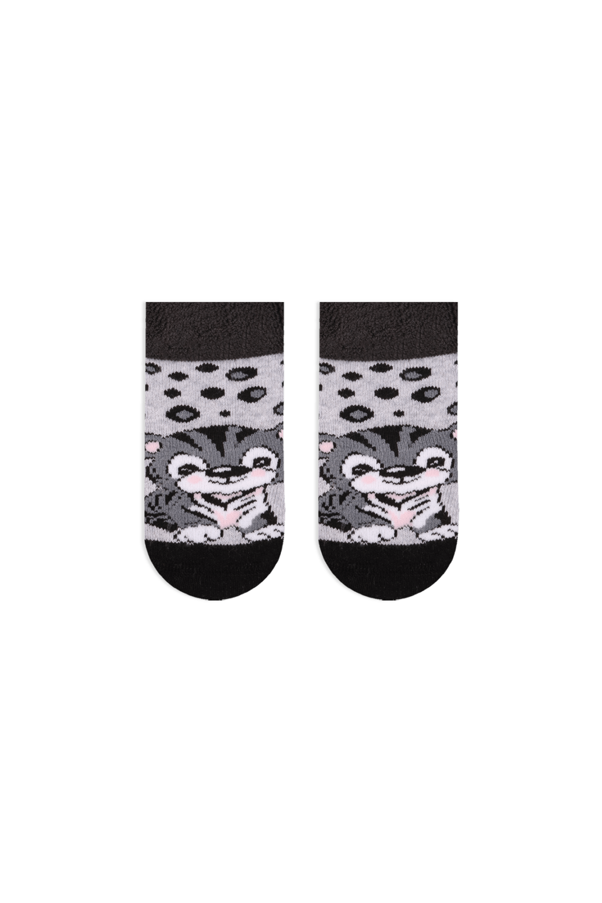 Bross Bebek Grimelanj Kaplan Desenli  Taban Altı Kaydırmaz Baskılı Havlu Çorabı