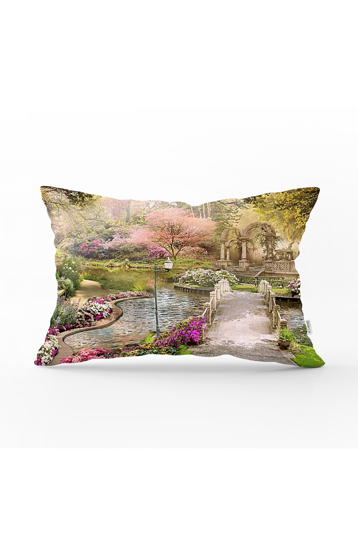 Realhomes Otantik Bahçe Yağlıboya Tasarımlı Dekoratif Dikdörtgen Yastık Kırlent Kılıfı 1