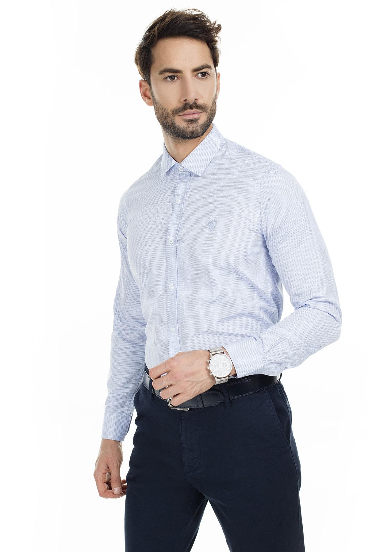 Sabri Özel Lacivert Uzun Kollu Slim Fit Gömlek Erkek Uzun Kollu Gömlek 5431635