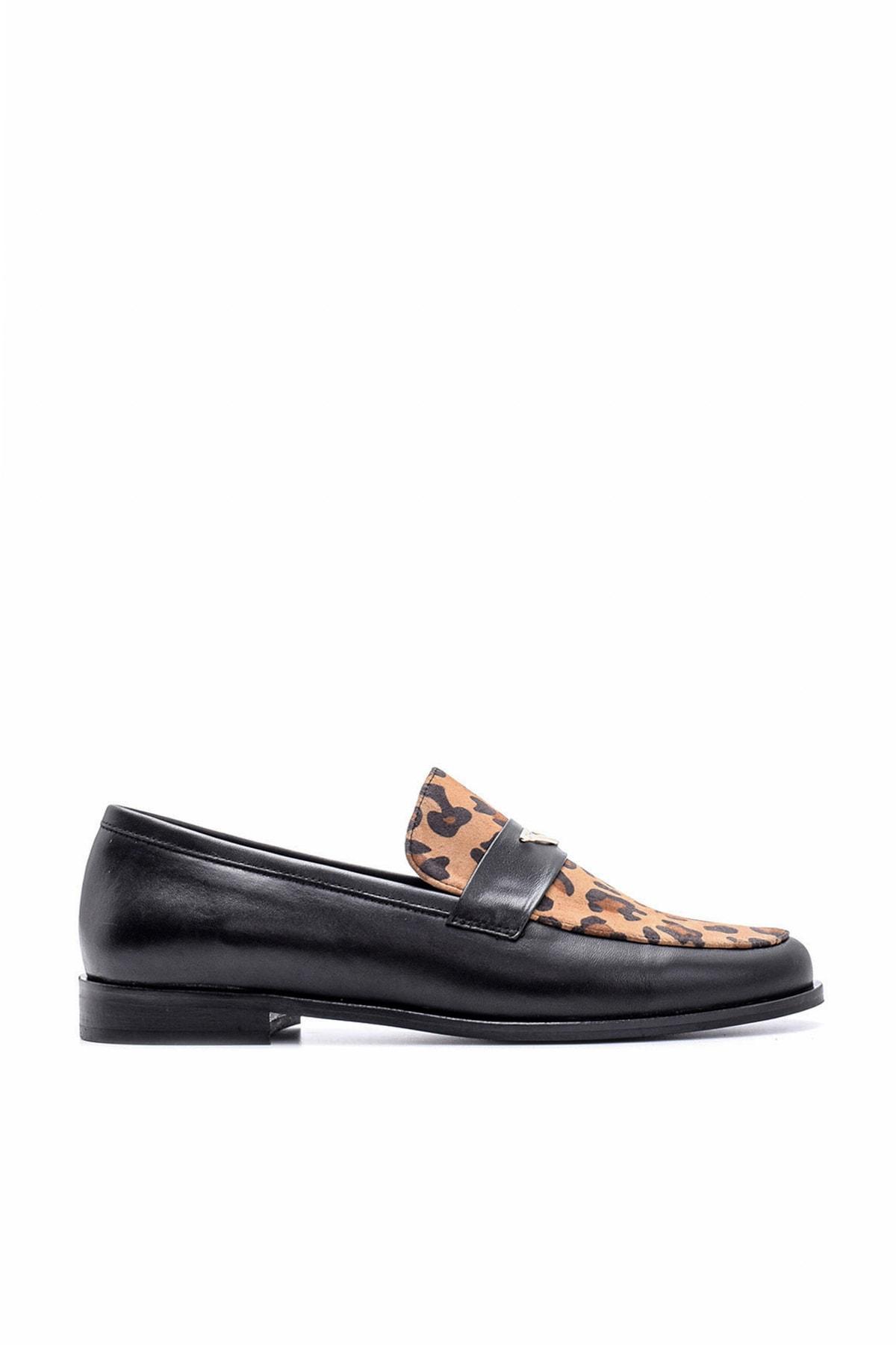Derimod Hakiki Deri Siyah Leopar Kadın Ayakkabı 1