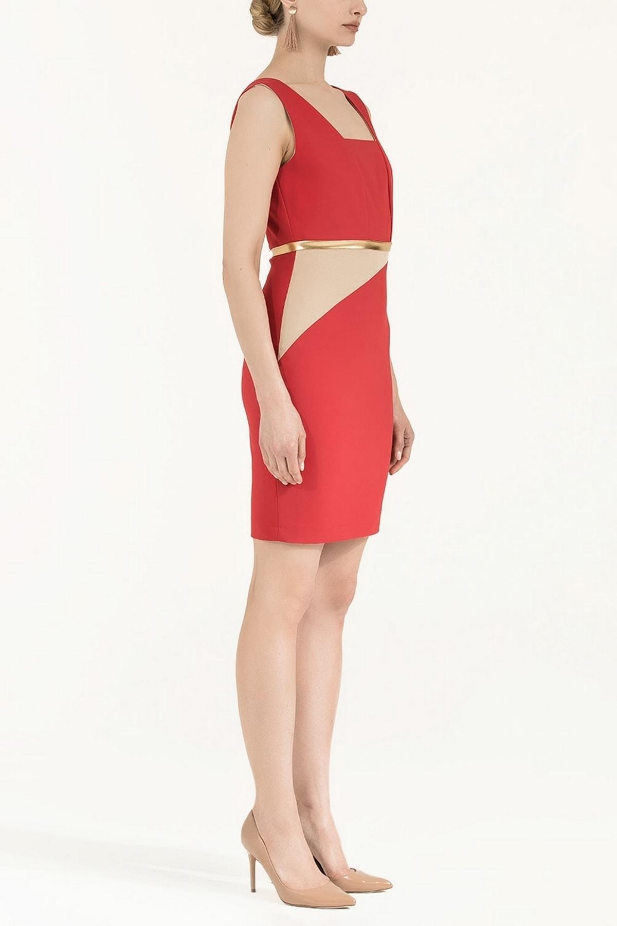 SOCIETA Lame Mixli Elbise Kırmızı 91565 2