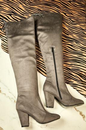 Bambi Kadın Grı Çizme  K05031900