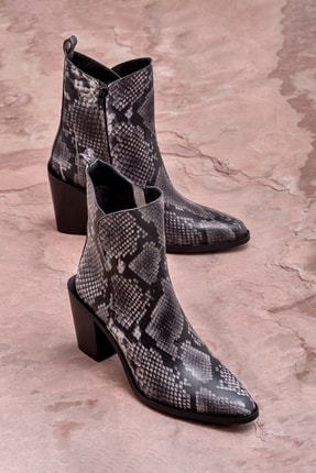 Elle Shoes PIPER Hakiki Deri Gri Yılan Kadın Bot