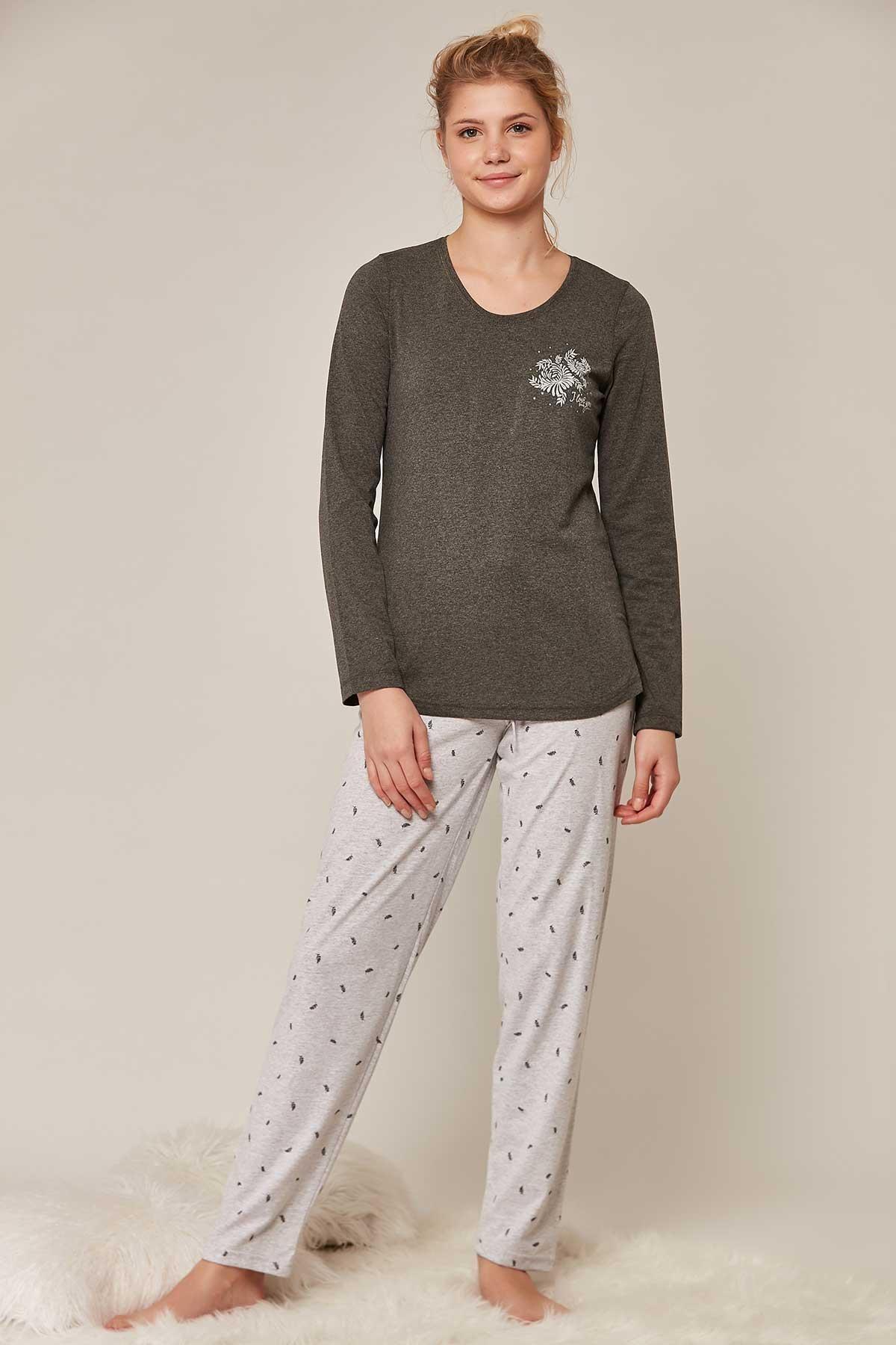 Pattaya Kadın Desenli Uzun Kollu Pijama Takımı 802194 1