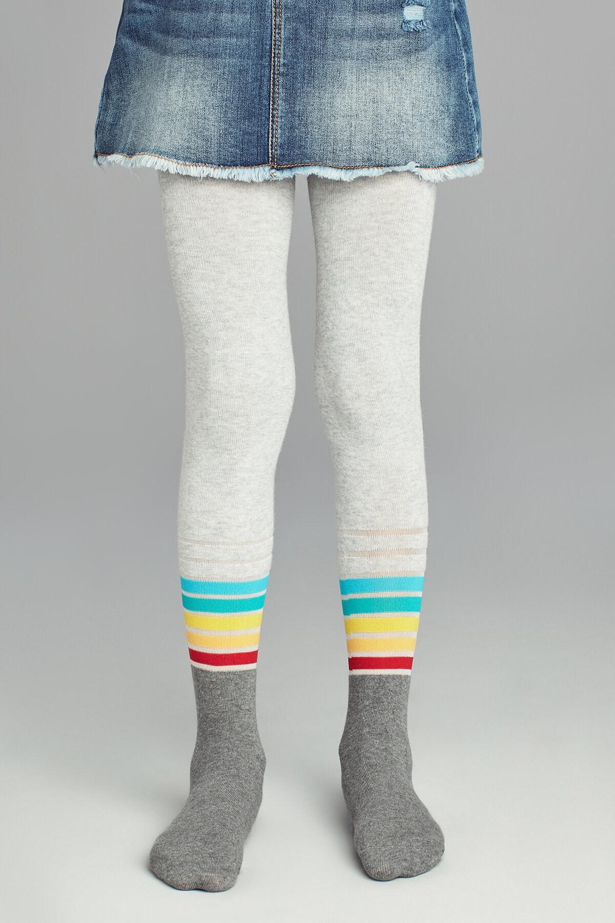 Penti Kız Çocuk Kül Melanj Pretty Stripemuch Külotlu Çorap 1