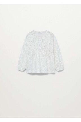 MANGO Baby Kız Bebek Kırık Beyaz Organik Pamuklu Uzun Kollu Tişört 87014052