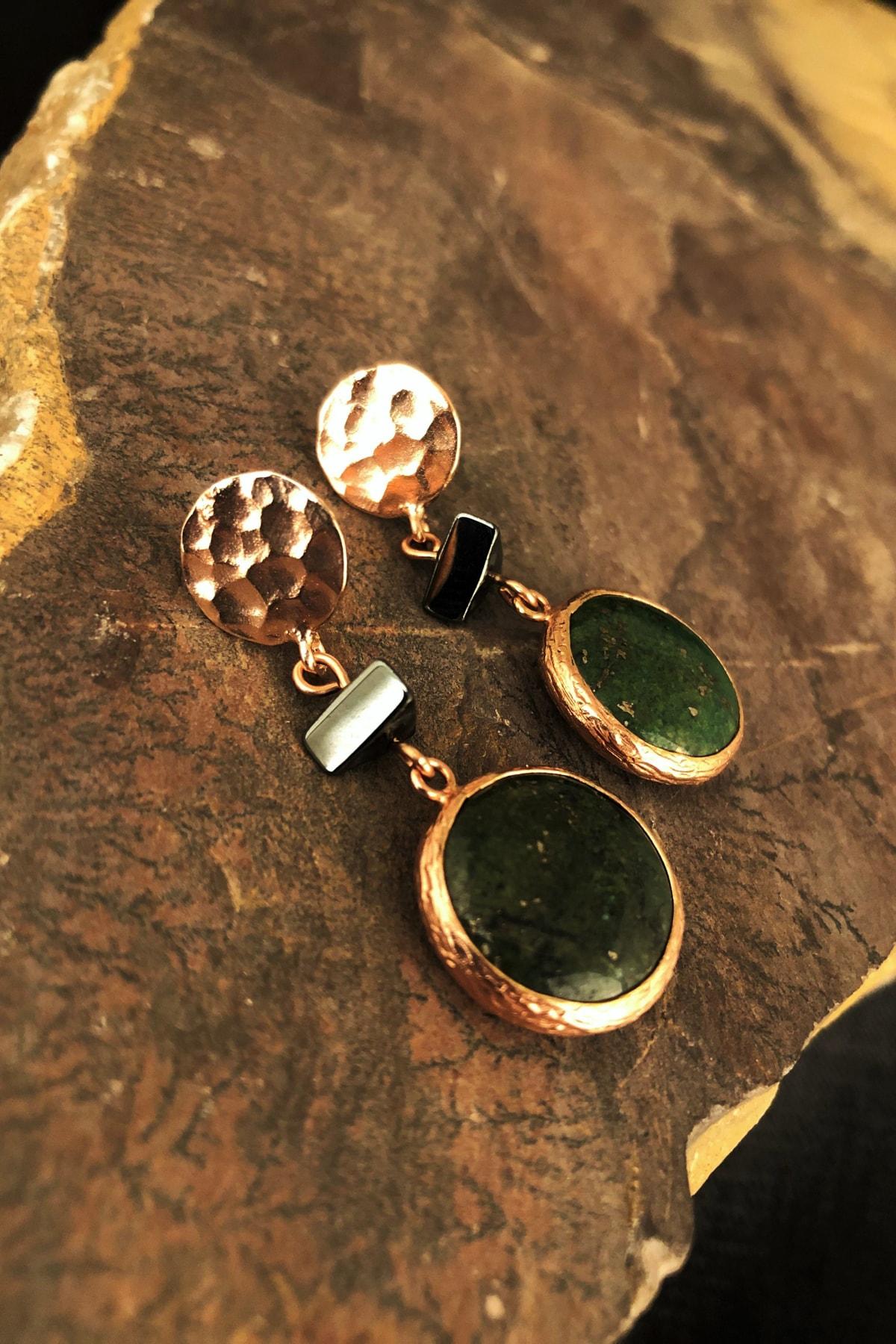 Dr. Stone Doğaltaş Kadın Rose Altın Kaplama Jade ve Hematit Taşı Küpe KRB497 1