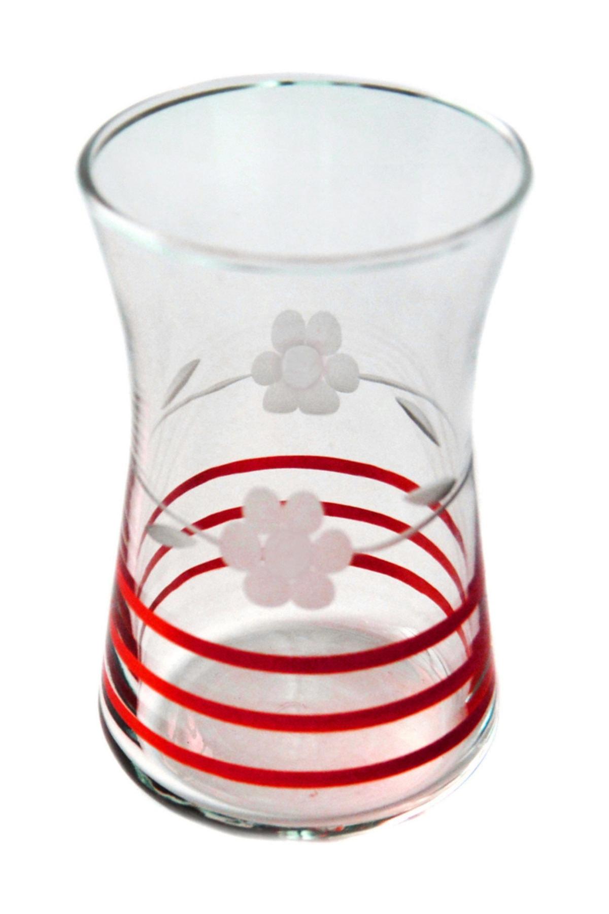 BAŞAK 42361 Heybeli Papatya (kırmızı) Dekor 6 Adet Çay Bardağı 2