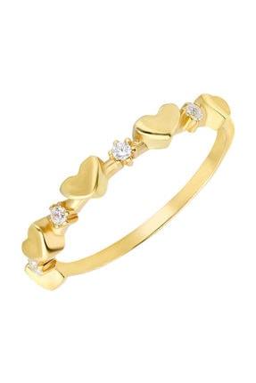 Tesbihane Zirkon Taşlı Sıralı Kalp Tasarım Gold Renk 925 Ayar Gümüş Bayan Yüzük