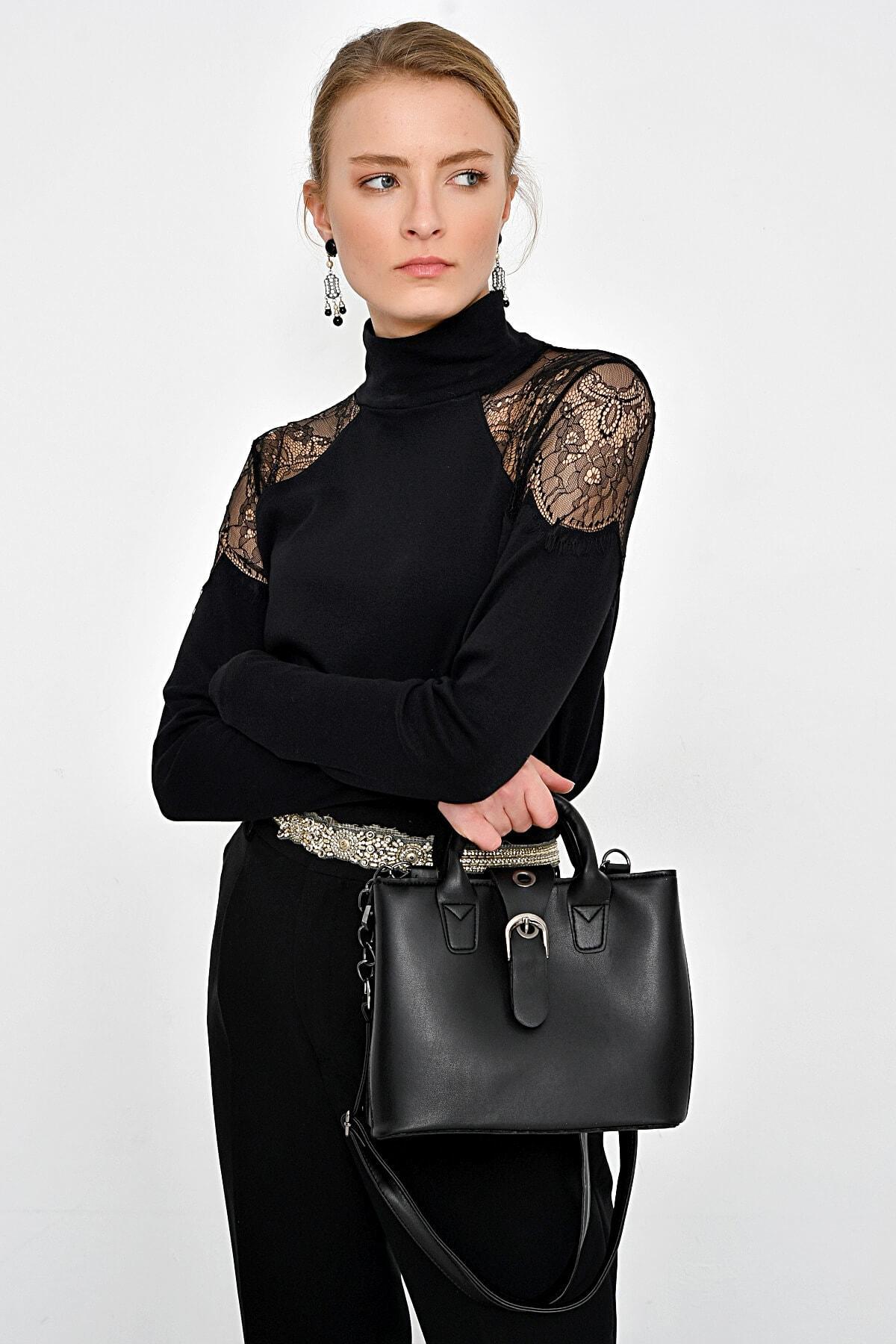Hanna's by Hanna Darsa Kadın Siyah Omuzları Dantelli Bluz HN2364 1
