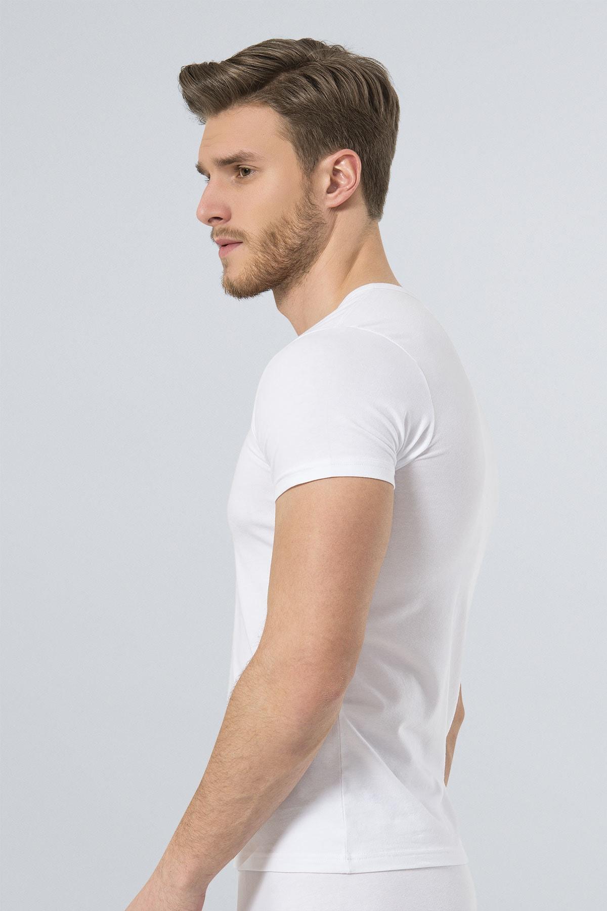 TÜREN Erkek Beyaz Likralı Tshirt 2