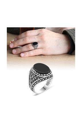 Tesbihane 925 Ayar Gümüş Çizgi Desenli Siyah Oniks Taşlı Erkek Yüzük 102001541