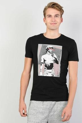 Colin's Erkek Baskılı Siyah Kısa Kol Tişört