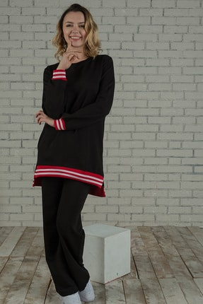 Runever Kadın Kırmızı Şeritli Eşofman Takımı