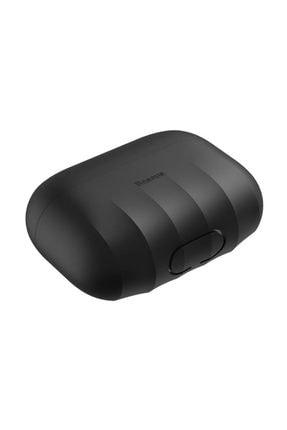 Baseus Shell Pattern Silica Gel Apple Airpods Pro Kaymaz Silikon Kılıf Siyah