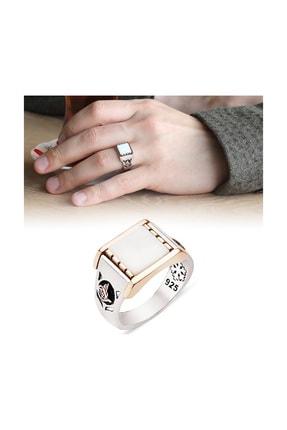 Tesbihane 925 Ayar Gümüş Beyaz Oniks Taşlı Tuğra Tasarım Yüzük 12020520