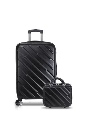 Troya Bags Siyah Unisex 2'li Set, Makyaj ve Orta Boy Valiz TR0991