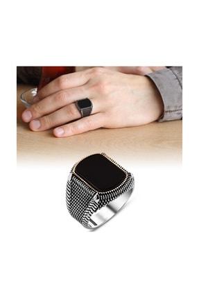 Tesbihane Nokta İşlemeli Siyah Oval Oniks Taşlı 925 Ayar Gümüş Erkek Yüzük 65020003